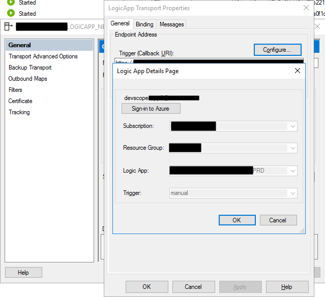 Logic App Adapter configuration on the BizTalk Server administration Console