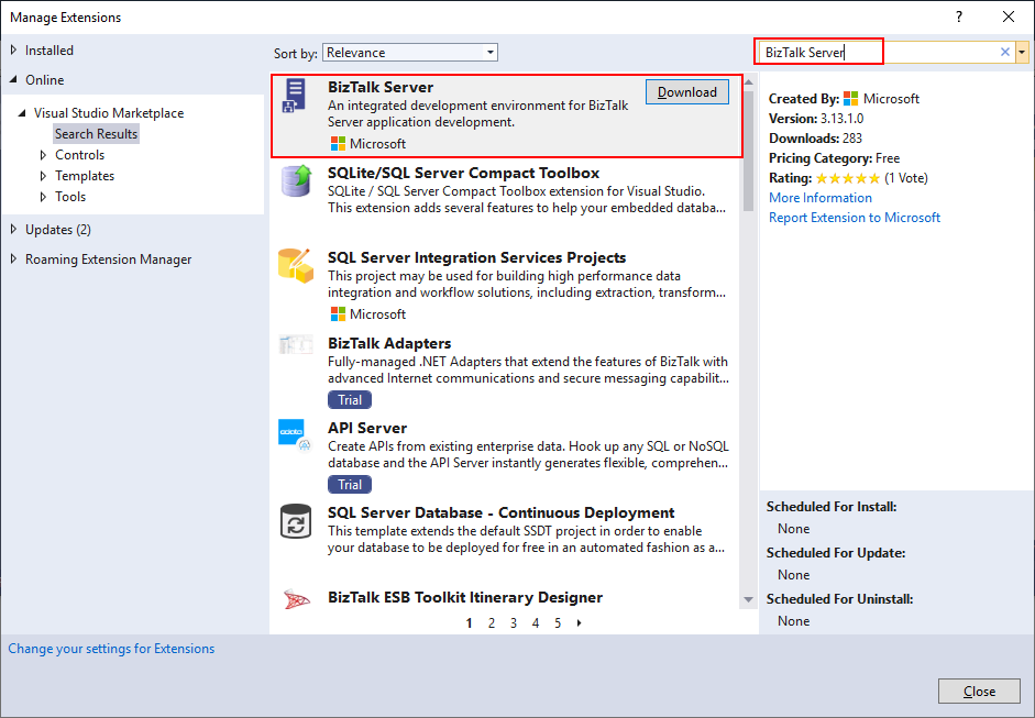 BizTalk Server 2020: Visual Studio 2019 Extensions