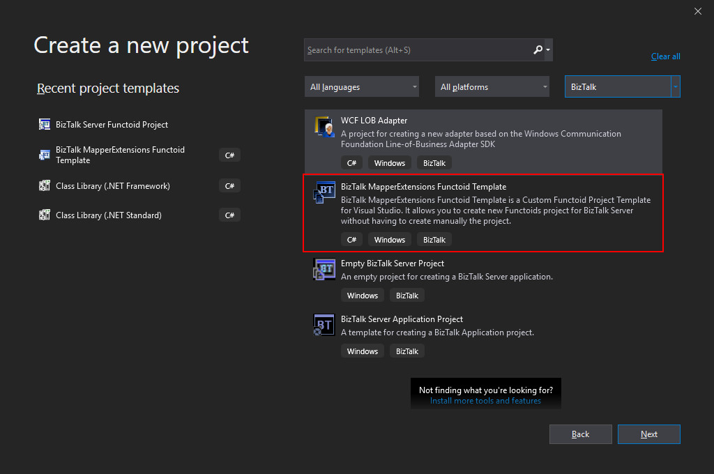 Visual Studio 2019 Filter for project templates: BizTalk MapperExtensions Functoid Project Template)