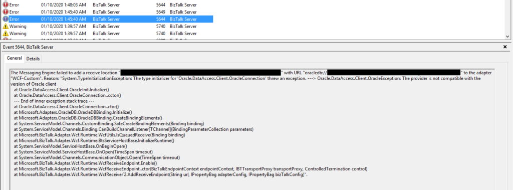 The provider is not compatible with the version of Oracle client