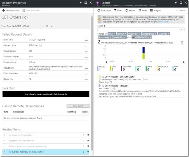 09 Azure Portal - Application Insights - Application map - 404 Errors - Detail
