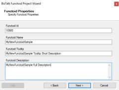 BizTalk MapperExtensions Functoid Wizard: Functoid Properties Screen