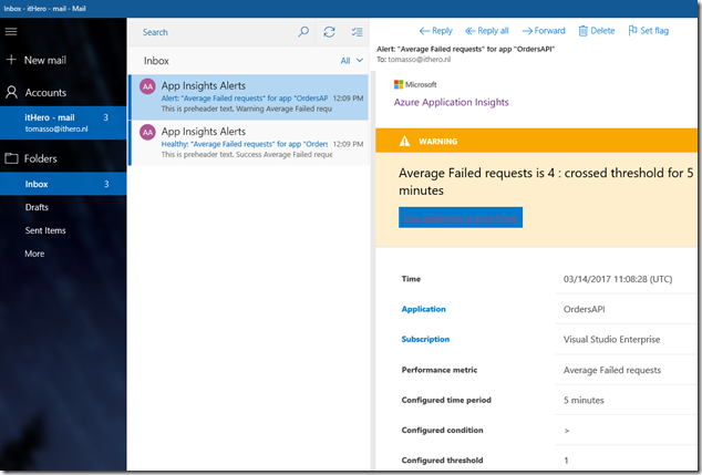 12 Azure Portal - Application Insights - Email about Alert
