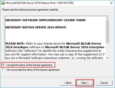 BizTalk Server 2016 Feature Pack 1 License Agreement