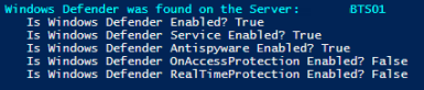 Result: Windows Defender is running on BizTalk Server