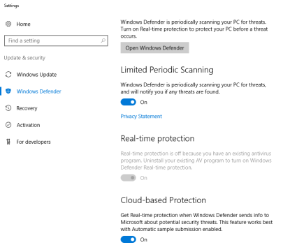 Windows Defender is running on BizTalk Server