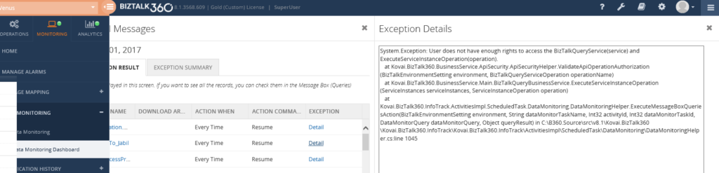 User permission exception for suspended instances