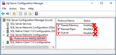 Connecting to the LOB system has failed: SQL Server 2016 Configuration Manager protocols