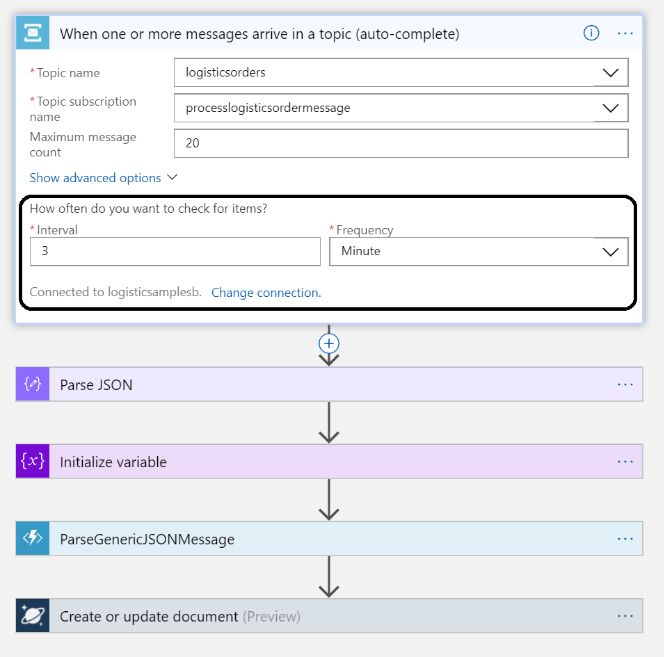 logic app with azure service bus topic