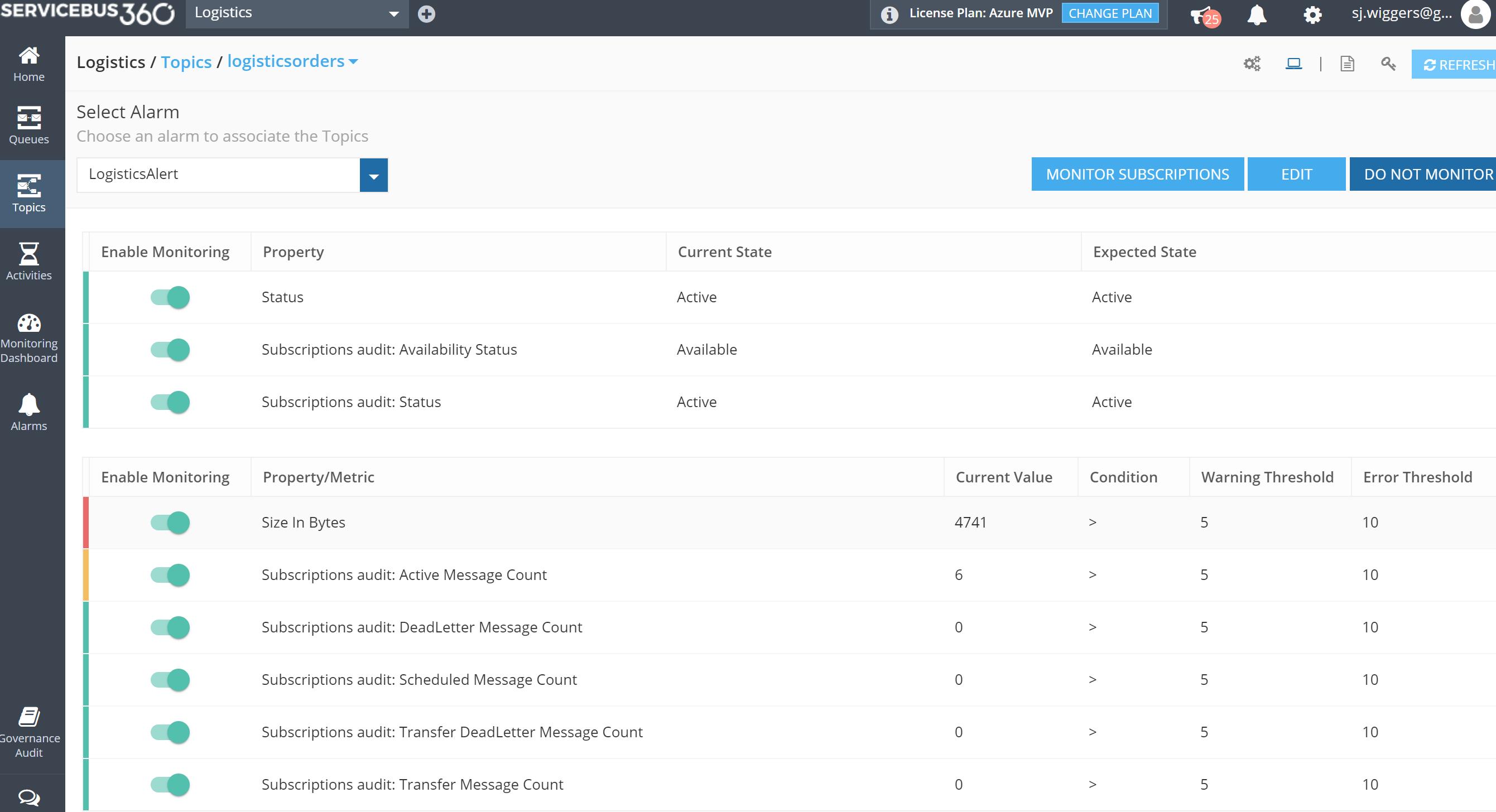 monitoring namespaces using servicebus360
