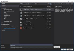 Create ASP.NET Web Application project