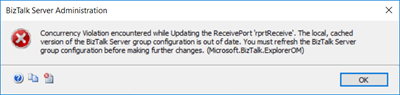 Concurrency Violation encountered while Updating the ReceivePort