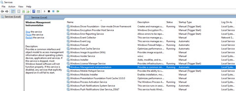 BizTalk Server Administration Console cannot connect to WMI provider: Winmgmt service running