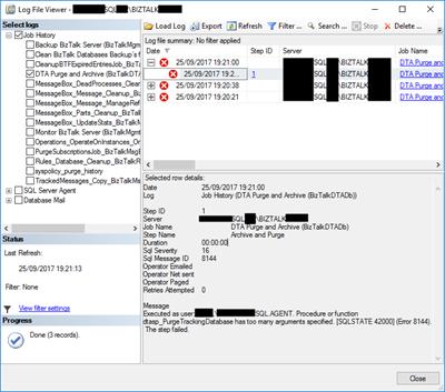 DTA Purge and Archive (BizTalkDTADb) job: dtasp_PurgeTrackingDatabase has too many arguments specified