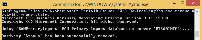 Business Activity Monitoring BAM Operation Using Command Prompt
