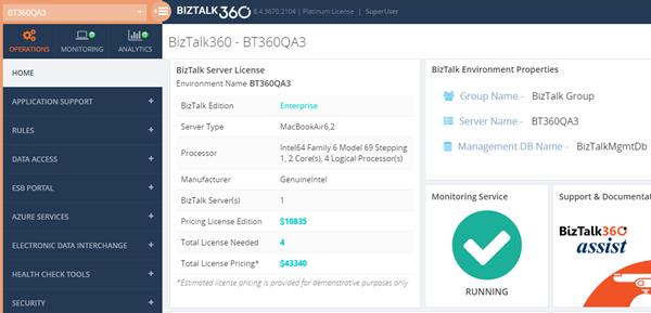 BizTalk360 BizTalk Server Licensing Widget