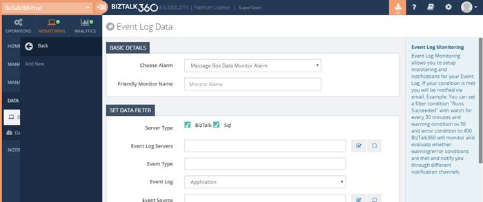 BizTalk360 Event log data monitor