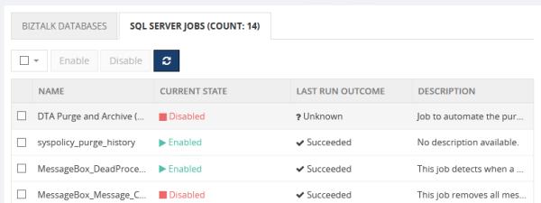BizTalk360 Manage SQL Jobs - Infrastructure Settings