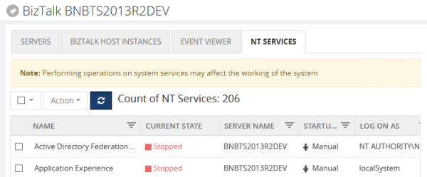 BizTalk360 NT Services Operation in BizTalk and SQL Servers - Infrastructure Settings
