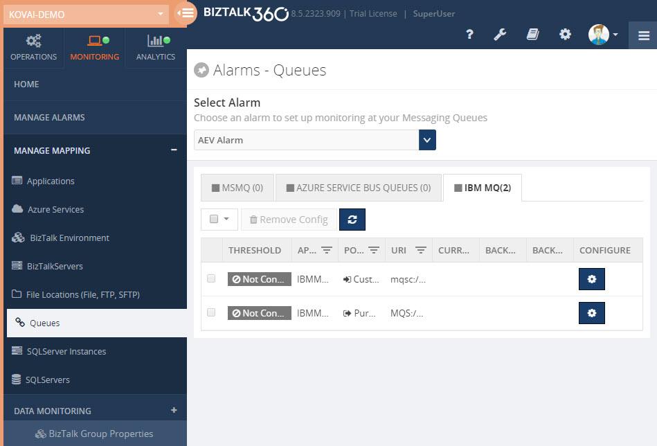 BizTalk360 IBM MQ ServiceBus Queue MSMQ Monitoring