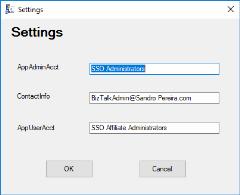 SSO Application Configuration Tool for BizTalk Server 2016: Settings