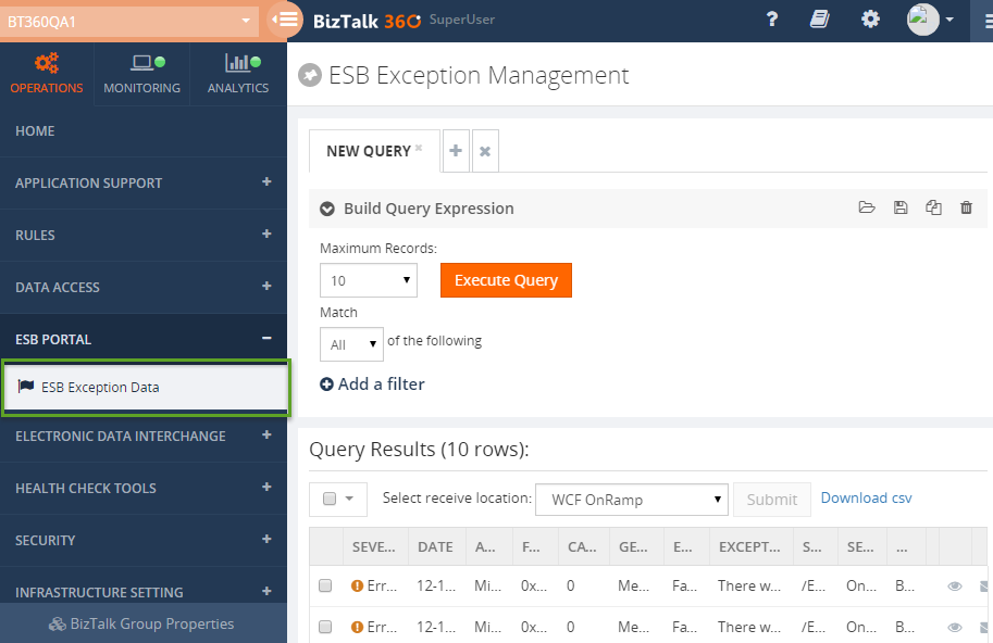ESB Exception Management Portal BizTalk360