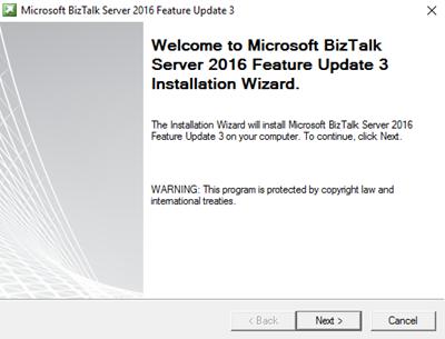 BizTalk Server 2016 Feature Pack 3: Welcome screen