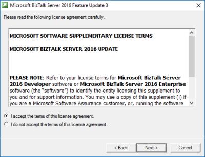 BizTalk Server 2016 Feature Pack 3: License Agreement Screen
