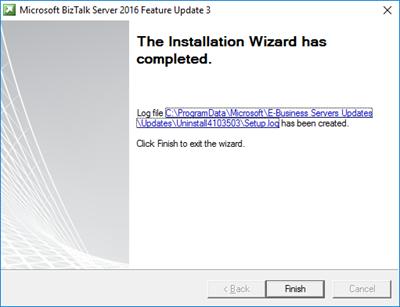 BizTalk Server 2016 Feature Pack 3: Complete screen