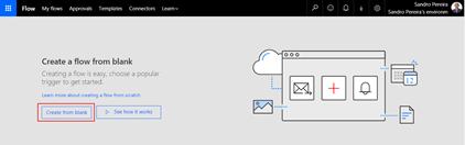 Create a blank Microsoft Flow