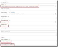 Set properties for Azure Copy Files step