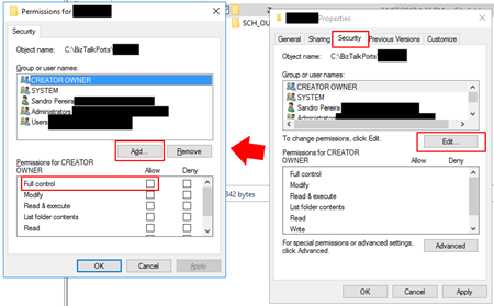 BizTalk Server: File transport does not have read/write privileges for receive location - Give user Access