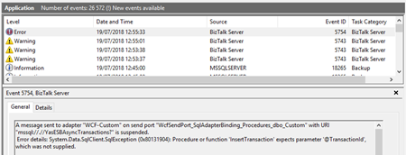 BizTalk Server WCF-SQL Adapter: Procedure or function expects parameter - Event Viwer