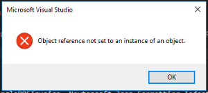 Microsoft Visual Studio: Object reference not set to an instance of an object