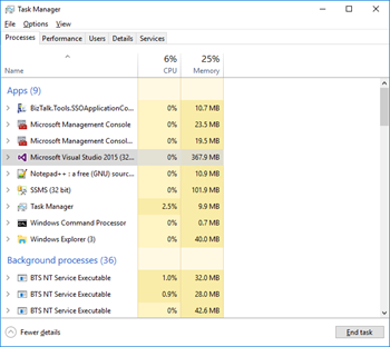 Visua Studio: Failed to create window handle for pane End task with Task Manager