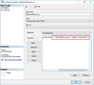 Backup BizTalk Server job: Executed as user NT SERVICESQLSERVERAGENT. Cannot open backup device destination path fixed