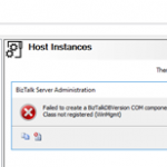 BizTalk Administration Console: An internal failure occurred for unknown reasons (WinMgmt) fixed by July 30, 2018 Microsoft Security Updates