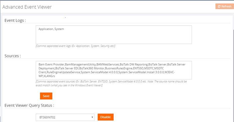 BizTalk360 Advanced Event viewer Event Log collection performance improvement- Old Screen