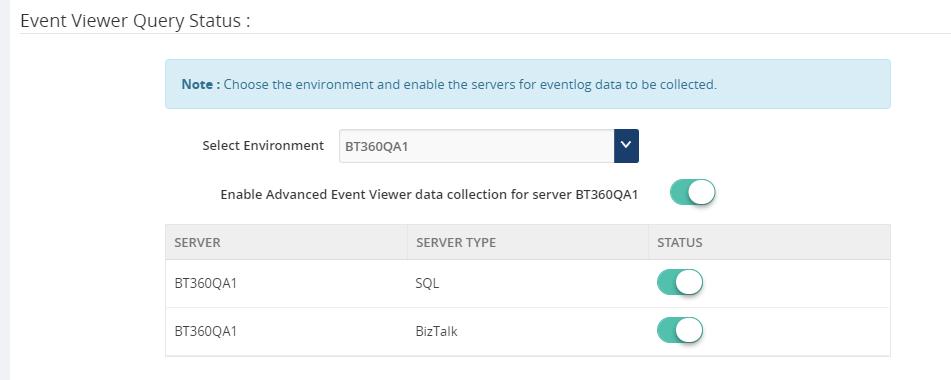 BizTalk360 Advanced Event viewer Event Log collection performance improvement - Server_configuration_screen