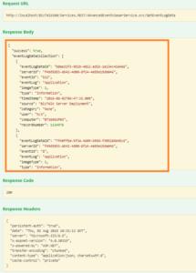 Insights and control your BizTalk Environment using BizTalk360 Event Log viewer - A Sample JSON Response screen