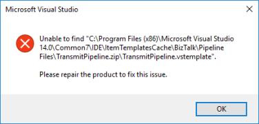 Unable to find transmitPipeline.vstemplate