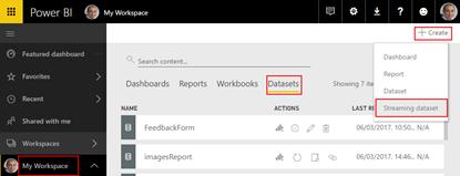 Processing Feedback Evaluations Paper: Create Power BI Streaming Dataset