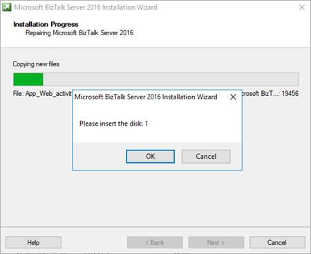BizTalk Server Please insert the disk: 1