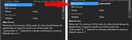 Another way to set unlimited occurrences on schema elements: asterisk