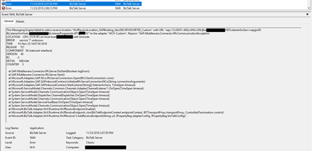 SAP.Middleware.Connector.RfcCommunicationException: LOCATION CPIC (TCP/IP) on local host BTSSERVERNAME with Unicode, ERROR service '?' unknown