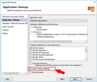 BizTalk Server Import MSI Not Importing racking Data