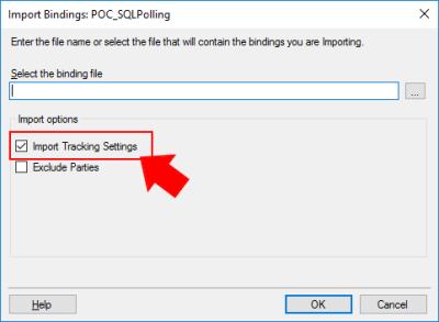 BizTalk Server Import Bindings Not Importing racking Data