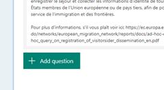 Microsoft Form: add question