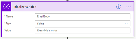 Microsoft Flow: Initialize variable