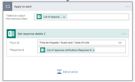 Microsoft Flow: for each form response